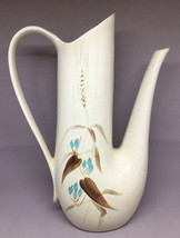 Red wing harvest floral pitcher Mid-Century  blue/pink USA pottery leave... - $18.70