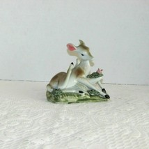 ADORABLE DEER FIGURINE HAND PAINTED PORCELAIN FAWN NOT SIGNED VINTAGE AN... - $4.95