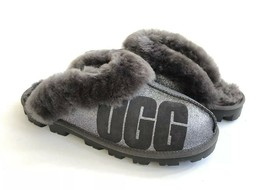 UGG COQUETTE SPARKLE CHARCOAL SHEARLING MOCASSIN SLIPPERS US 6 / EU 37 /... - $101.92