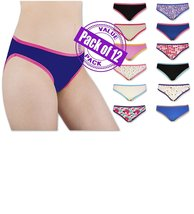 Sexy Womens 12 Pack Cotton Bikini Briefs (SOLIDS/PRINTS GRAB BAG) - $39.95