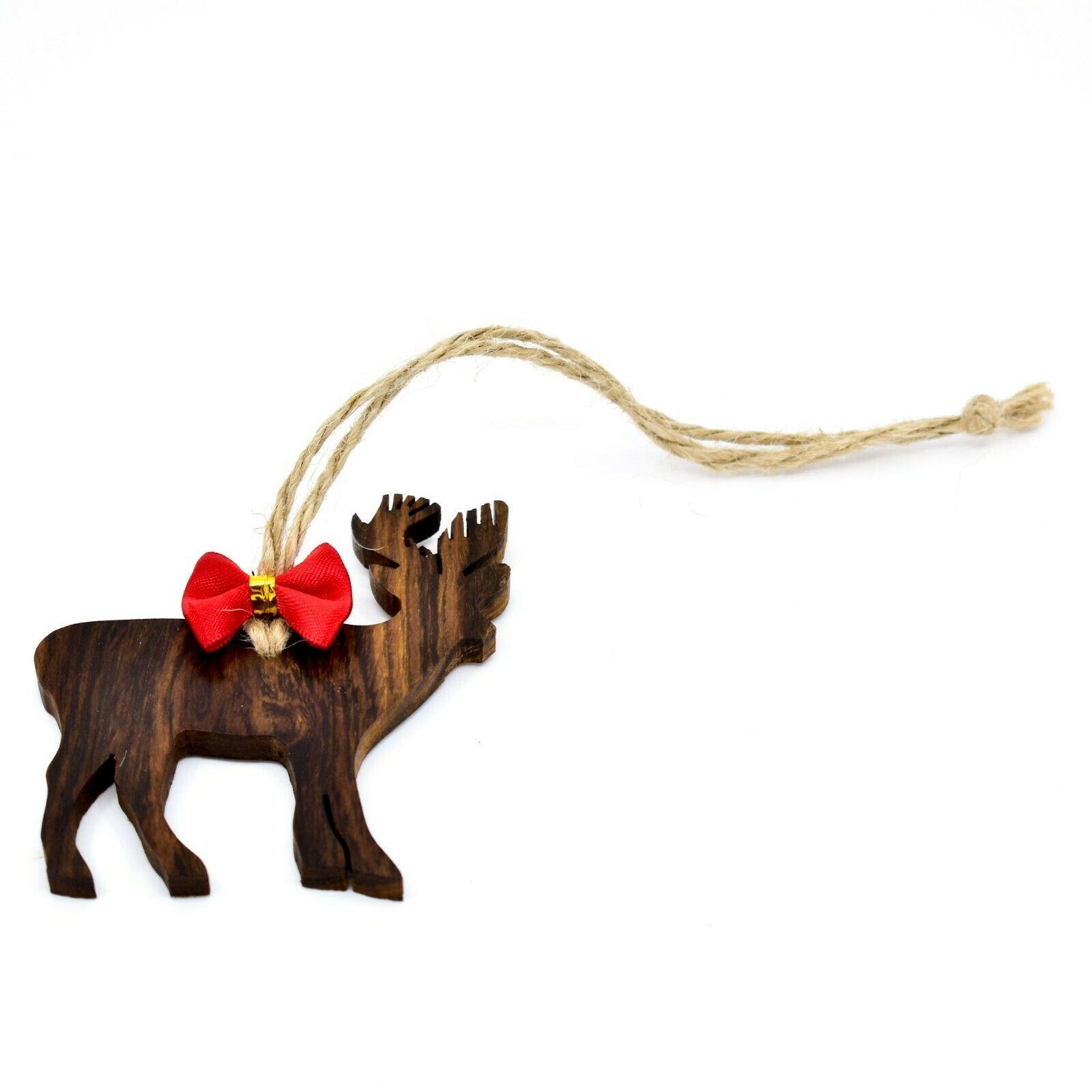 Hand Carved Ironwood Wood Folk Art Deer Silhouette Christmas Ornament