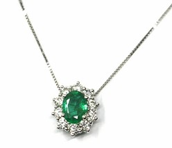 18K WHITE GOLD NECKLACE, FLOWER PENDANT, OVAL EMERALD 0.74 DIAMONDS FRAME 0.52 image 1