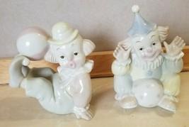 2 Porcelain Child Like Clown Clowns Circus Balls not Lladro - $14.99