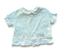 Vintage Baby Diaper Shirt Blue Boy Puppies Mid Century Newborn Preemie - $18.76
