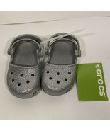NWT Crocs Girls Toddler Silver Clog K Size C8 Karin Glitter Sparkle Room... - $44.54