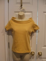 New In Pkg Newport News Goldenrod Cowl Neck 100% Cotton Top Small - $14.84
