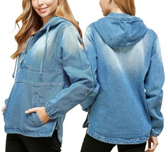 Women's Cotton Casual Hoodie Half Zip Pullover Denim Jean Jacket - M