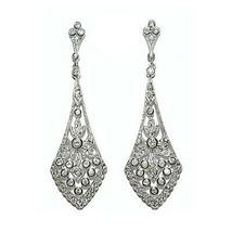 Glitzy Pave & Bezel Clear Cz Dangle Bridal Earrings 71MM-CUSTOM Made 4 Zircon Z - $68.31