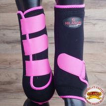 Hilason Infra Tech Horse Medicine Sports Boots Front Leg Black Pink U-PINK - $55.95