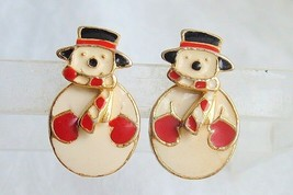 Vintage 2 Way Enamel Snowman Earrings Moving Gold Tone Pierced Articulated - $11.69