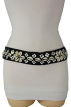 Women Black Tie Fashion Belt Hip High Waist Real Seashells Flower Bead C... - $30.66