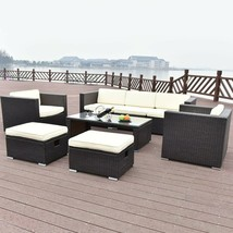 8 Pcs Outdoor Patio Rattan Table W/ Cushion Bench Armchairs Garden Furni... - $1,021.45