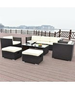 8 Pcs Outdoor Patio Rattan Table W/ Cushion Bench Armchairs Garden Furni... - $1,021.45