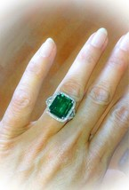 3Ct Emerald & Diamond Stone Solitaire Engagement Ring 14K White Gold Over - $79.23