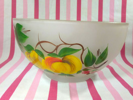Charming Vintage Hazel Atlas Frosted Glass Gay Fad Painted Fruit / Salad... - £21.60 GBP
