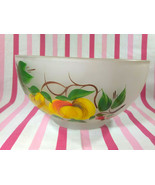 Charming Vintage Hazel Atlas Frosted Glass Gay Fad Painted Fruit / Salad... - $28.00