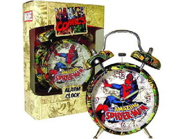 Spider-Man Figure and Marvel Comic Covers Collage Twin Bell Alarm Clock NEW - $28.05