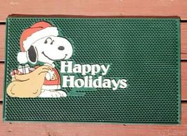 Vintage 80s Peanuts Santa Snoopy Rubber Door Mat Happy Holidays Christmas Schulz - $29.02