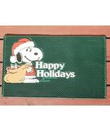 Vintage 80s Peanuts Santa Snoopy Rubber Door Mat Happy Holidays Christma... - $29.02
