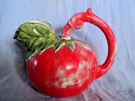 Ceramic Tilt Ball Water Pitcher in shape of Red Tomato Pottery Tilting J... - $24.69