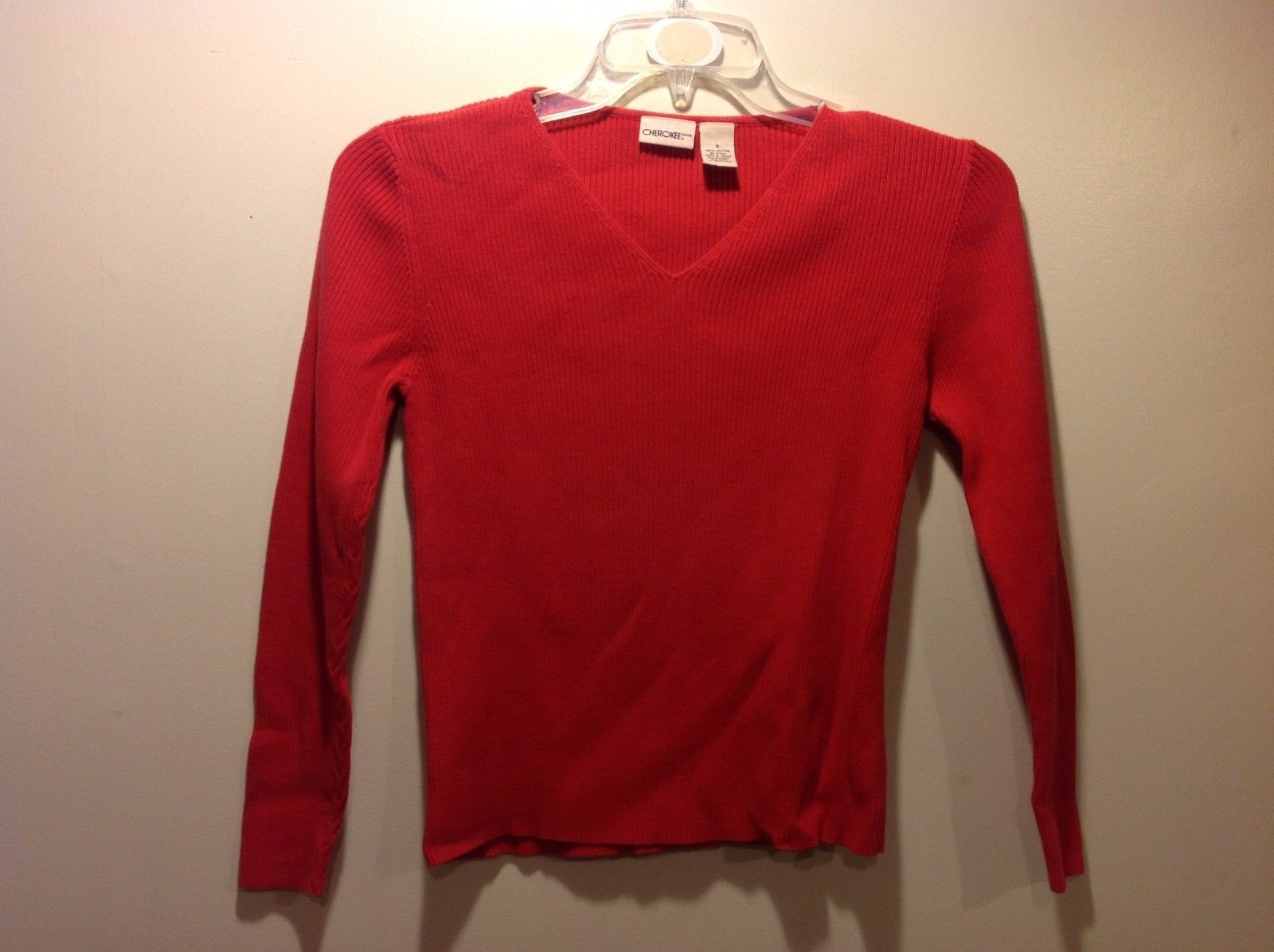 Cute Red Knit Vertically Textured V Neck Sweater by Cherokee Sz Small