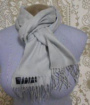 """V. Fraas Signature Gray Cashmink Scarf Shawl 13""""x64""""+ 3"""" fringes made in... - $12.53"""