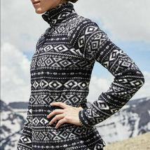 Eddie Bauer Femmes 'Recherche' Noir/Blanc 1/4-ZIP Polaire Pull Grand Nwt image 3