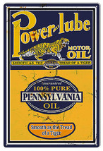 Power-Lube Reproduction Motor Oil Sign 12×18 - $21.78