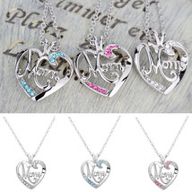 Charming Love Mother's Day Gift Mom Charm Silver Crystal Heart Pendant Necklace  - $9.99