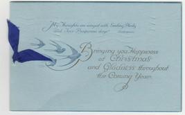 Vintage Christmas Card Birds Pale Blue Background Ribbon 1931 - $7.91