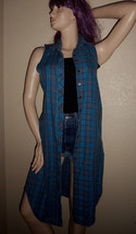 VTG 90s CONTEMPO CASUALS Blue Plaid Burnout Flannel Long Shirt Dress Gru... - $29.00