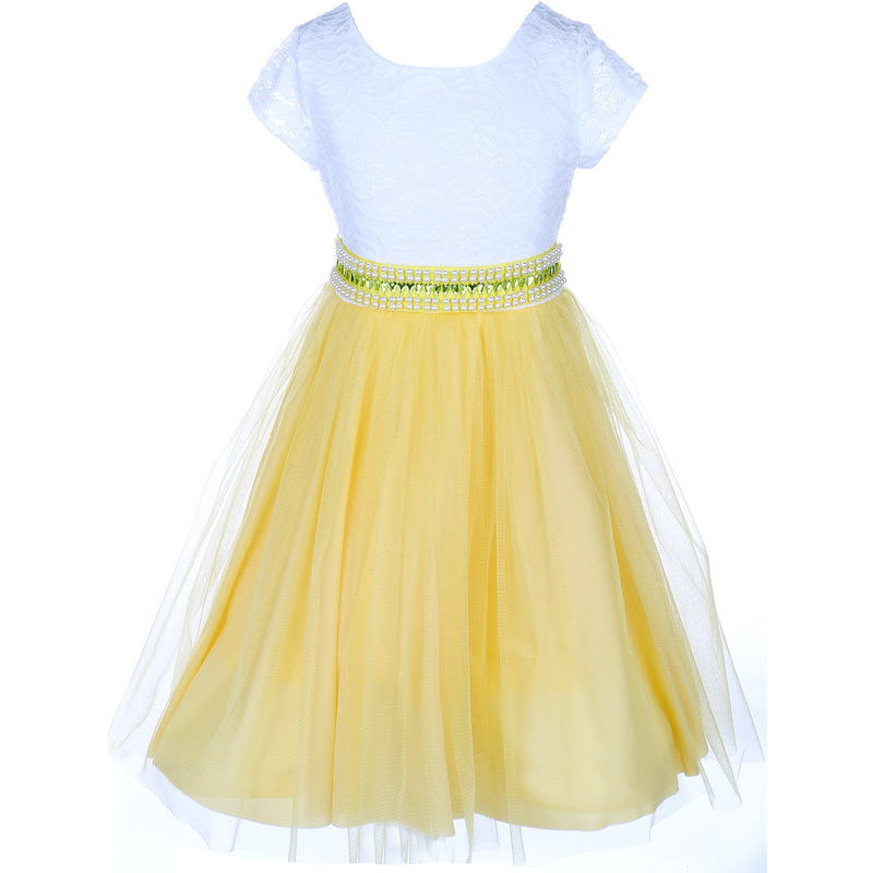 Primary image for Yellow Cap Sleeve Lace Top Tulle Skirt Flower Girls Dresses