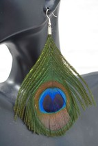 "3.5"" DROP FASHION PEACOCK FEATHER DANGLE EARRINGS (FREE SHIPPING) SKANKY... - $10.99"