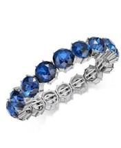 Charter Club Silver Tone Blue Crystal Stretch Bracelet - New - $14.85