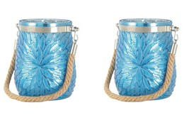 Set of 2 Blue Glass Flower Pillar or Votive Candle Holders with Rope Handle - £15.92 GBP