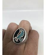 Vintage Hawk Ring Silver White Bronze Men's Black Turquoise Inlay Size 13 - $39.60