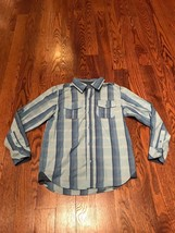 DKNY Boys Blue Striped Button Front Shirt K4 - $10.39