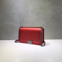 AUTHENTIC CHANEL RED QUILTED LAMBSKIN NEW MEDIUM BOY FLAP BAG RHW image 3
