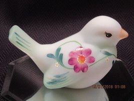 FENTON ART GLASS TEAL SPRING FLOWERS BIRD ONE OF A KIND BY FRANCES BURTON - $145.00