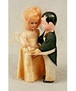 "VTG Wedding Standing Dolls Bride & Groom Set Sleepy Eyes 6"" Moving Arms ... - $39.60"