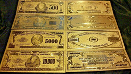 ~GOLD Banknote SET($100,000,$10000,$5000,$1000,$500)COLLECTIBLE BILLS FR... - $13.33