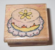 Cake Rubber Stamp Round Petit Four Hero Arts 1993 Retired B274 Birthday Party  - $3.46