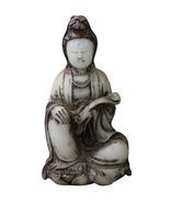 Chinese Oriental White Stone Carved Kwan Yin Statue Figure cs3548 - $950.00