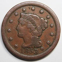 1853 Large Cent Liberty Braided Hair Head Coin Lot # MZ 4103