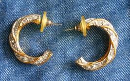 """Elegant Crystal Rhinestone Gold-tone Pierced Hoop Earrings 1980s vintage 1"""" - $12.30"""