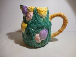 Nantucket Pitcher with Spring Flowers Tulips Pink Purple Yellow Garden - $14.99