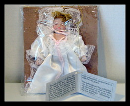 House of Lloyd FAITH Christening Porcelain Angel Doll with Pink Satin Bows - $39.10