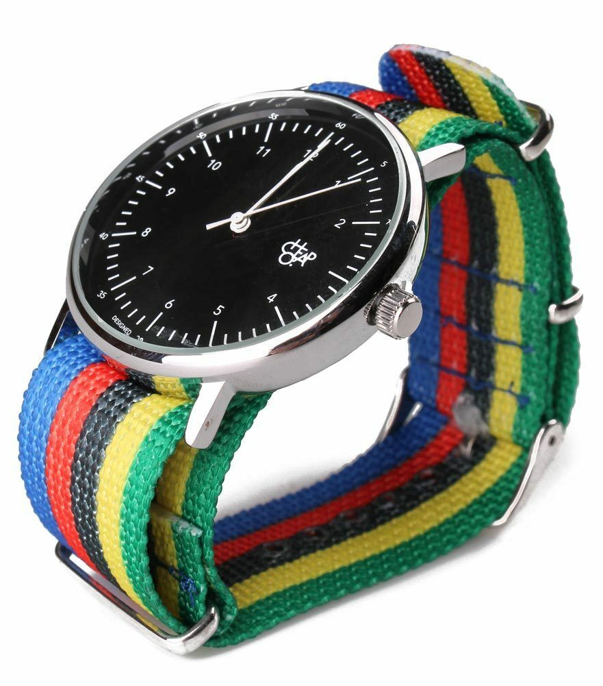 Cheapo CHPO Harold Rainbow Nylon Band Strap Black Face Dial 14224SS Analog Watch