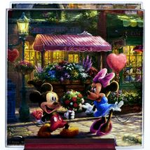 Thomas Kinkade Mickey & Minnie Sweethearts Prints 4 Pc Fused Glass Coaster Set image 4
