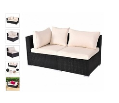 Black Rattan Patio Furniture Outdoor Sectional Pieces for Patio Deck Garden  - $164.98+